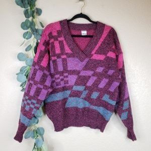 Vintage V Neck Retro Wool Sweater Knit Geometric
